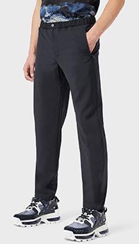 Темно-синие брюки Emporio Armani с эластичным поясом, фото