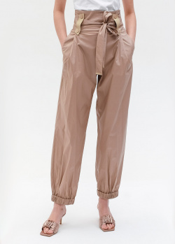 Бежевые брюки Emporio Armani с высокой талией, фото