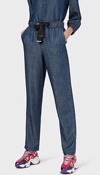Синие брюки Emporio Armani с завязками на поясе, фото