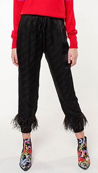 Укороченные брюки Frankie Morello с декором-перьями, фото