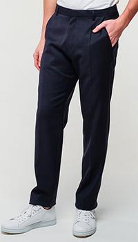 Мужские брюки Hugo Boss прямого кроя синего цвета, фото