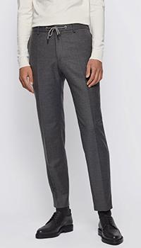Шерстяные брюки Hugo Boss серого цвета, фото