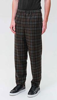 Клетчатые брюки Kenzo серого цвета, фото