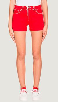 Красные шорты Love Moschino с потертостями, фото