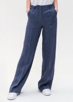 Льняные брюки-клеш Max Mara Weekend синего цвета, фото