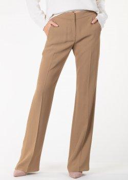 Бежевые брюки N21 с однотонными лампасами, фото