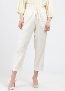 Льняные брюки Fabiana Filippi молочного цвета, фото
