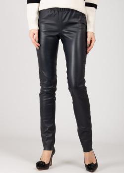 Кожаные брюки Max&Moi темно-синего цвета, фото