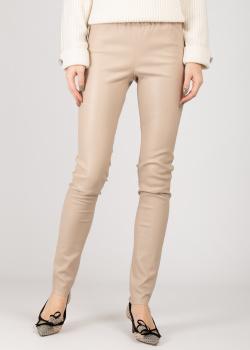 Бежевые брюки Max&Moi из кожи, фото