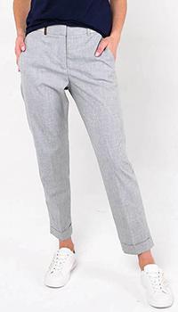 Серые брюки-чинос Peserico с высокой талией, фото