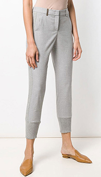 Серые зауженные брюки Peserico с манжетами, фото
