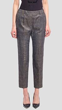 Зауженные брюки Peserico бронзовые в клетку, фото