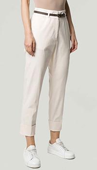 Укороченые брюки Peserico с коричневым ремнем, фото