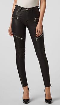 Черные брюки Philipp Plein с молнией внизу штанины, фото