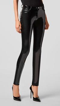 Латексные брюки Philipp Plein черного цвета, фото