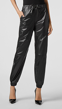 Черные брюки из экокожи Philipp Plein с поясом на кулиске, фото