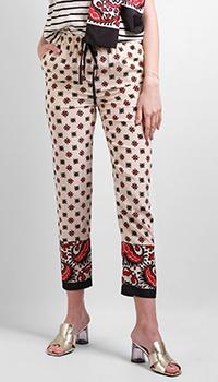Шелковые брюки Red Valentino с абстрактным принтом, фото