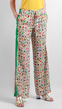 Шелковые брюки Red Valentino с растительным принтом, фото