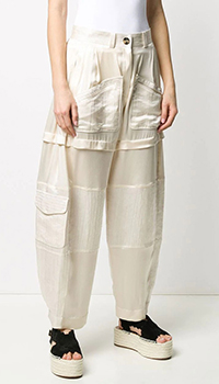 Бежевые брюки Lanvin из шелка, фото
