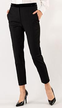 Черные брюки Sandro с бархатным поясом, фото
