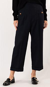 Широкие брюки Sandro синего цвета, фото