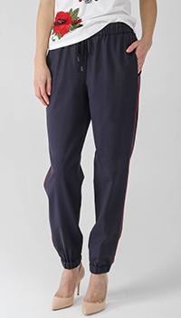 Синие брюки Peserico в спортивном стиле с красными лампасами, фото