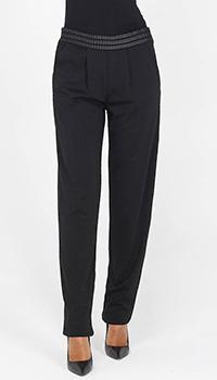 Зауженные брюки Emporio Armani на широком поясе с отделкой лентами, фото