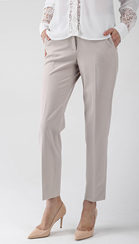 Укороченные брюки Peserico бежевого цвета со стрелками, фото