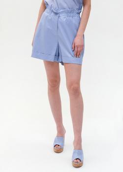Голубые шорты Twin-Set на резинке из экокожи, фото