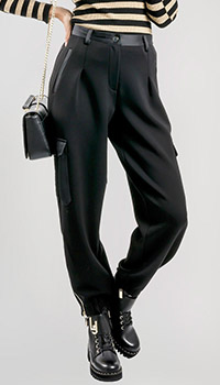 Черные брюки-карго Twin-Set с накладными карманами, фото