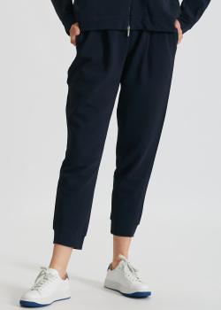 Темно-синие брюки Max Mara Leisure Bric из хлопка, фото