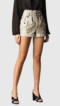 Льняные шорты Saint Laurent золотистого цвета, фото