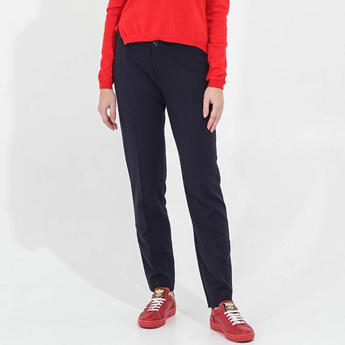 Зауженные брюки Sandro Ferrone синего цвета со стрелками, фото