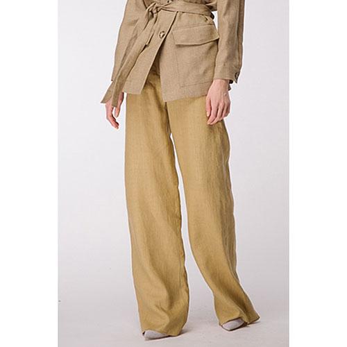 Широкие льняные брюки Shako песочного цвета, фото