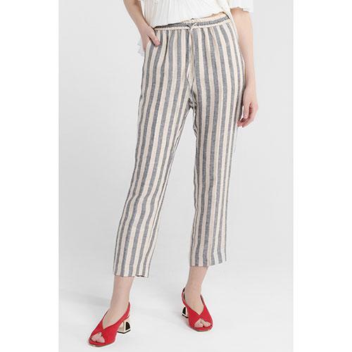 Бежевые брюки Twin-Set с серыми полосками, фото