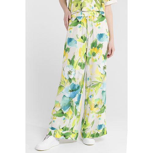 Белые брюки Twin-Set с растительным принтом, фото