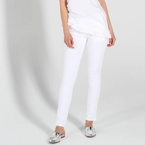 Брюки-скинни Love Moschino белого цвета с заниженной талией, фото