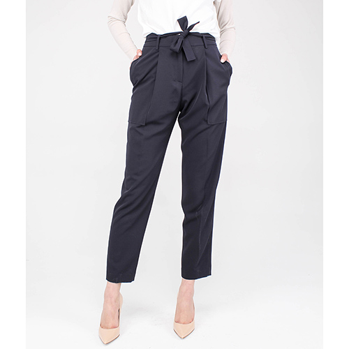 Синие брюки Blumarine с защипами и накладными карманами, фото