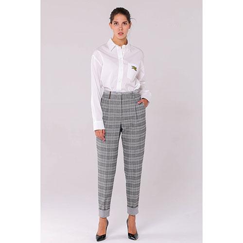 Серые клетчатые брюки Peserico с высокой талией, фото