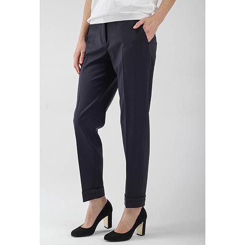 Зауженные брюки Peserico синего цвета со стрелками, фото