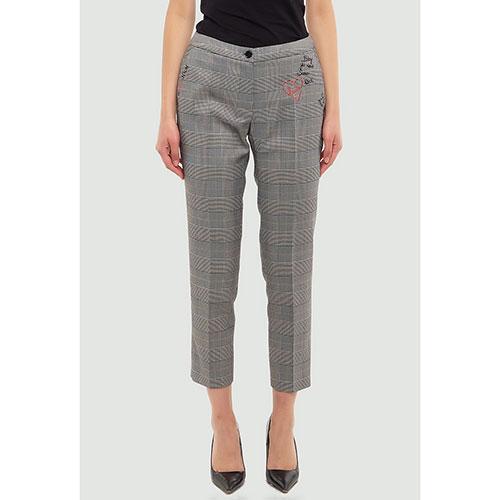 Клетчатые брюки Twin-Set с вышивкой, фото
