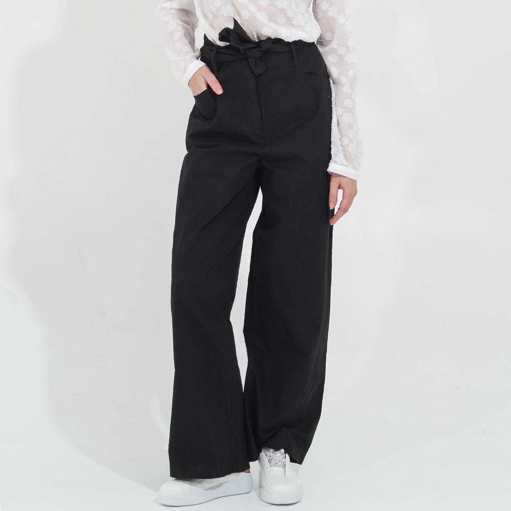 Широкие черные брюки Peacock Blue с высокой талией