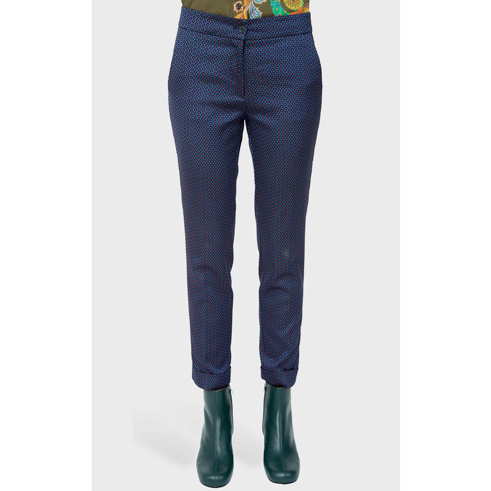 Синие брюки Etro с декором-принтом