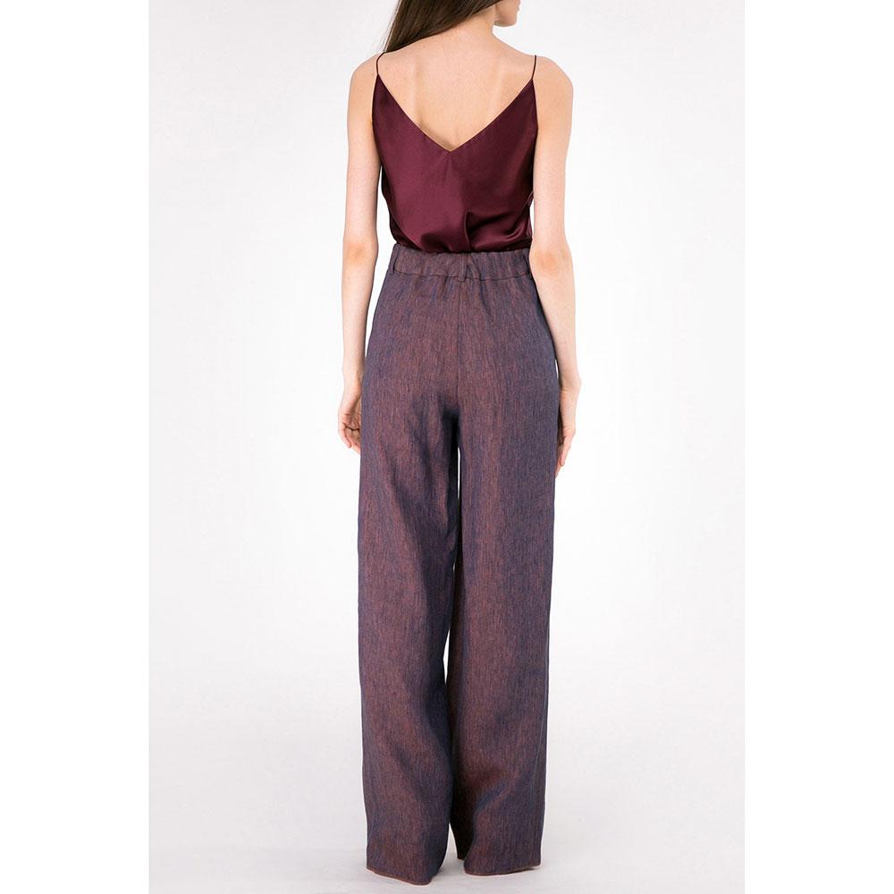 Широкие брюки Shako из льна фиолетового цвета