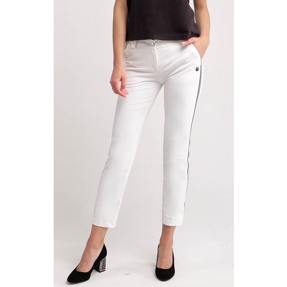 Белые укороченные брюки Sportalm с лампасами