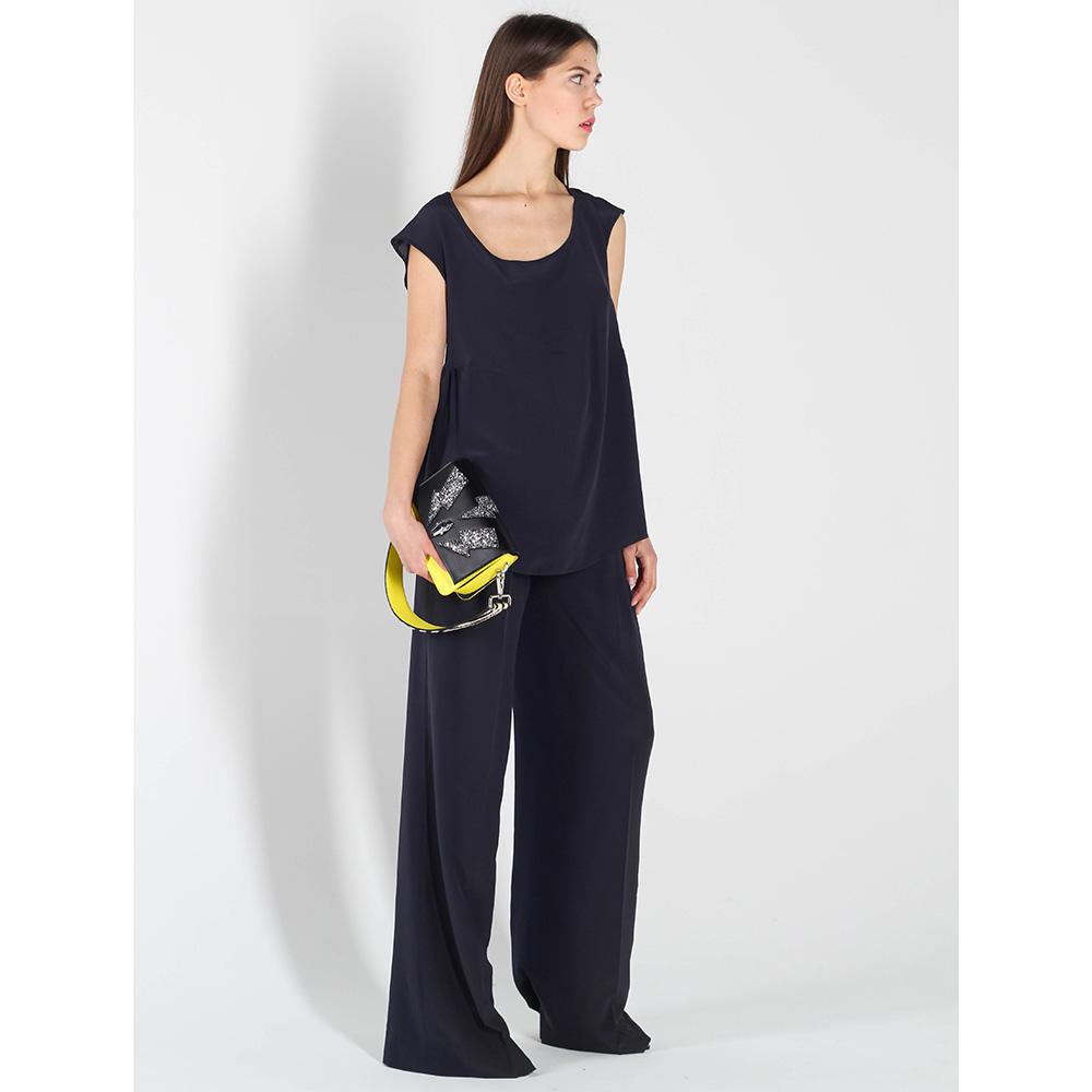 Шелковые брюки-клеш Polo Ralph Lauren синего цвета