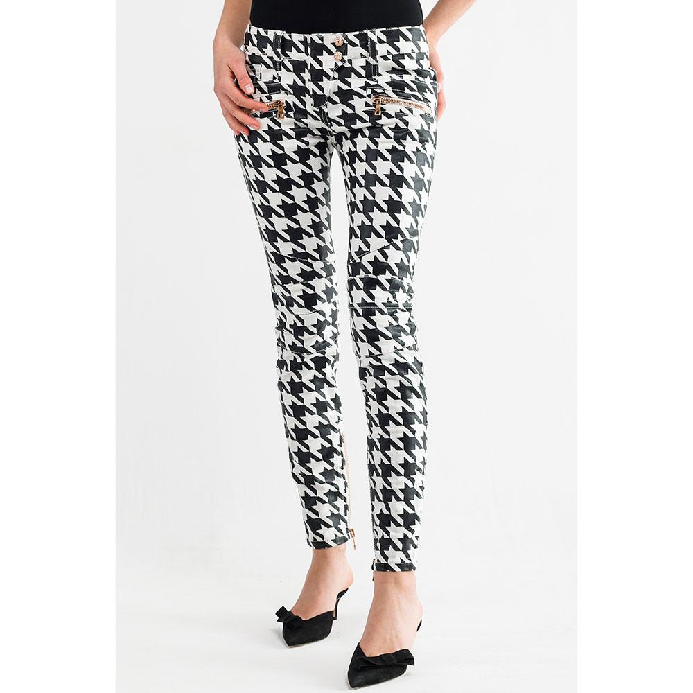 Черно-белые брюки Balmain с принтом-звездами