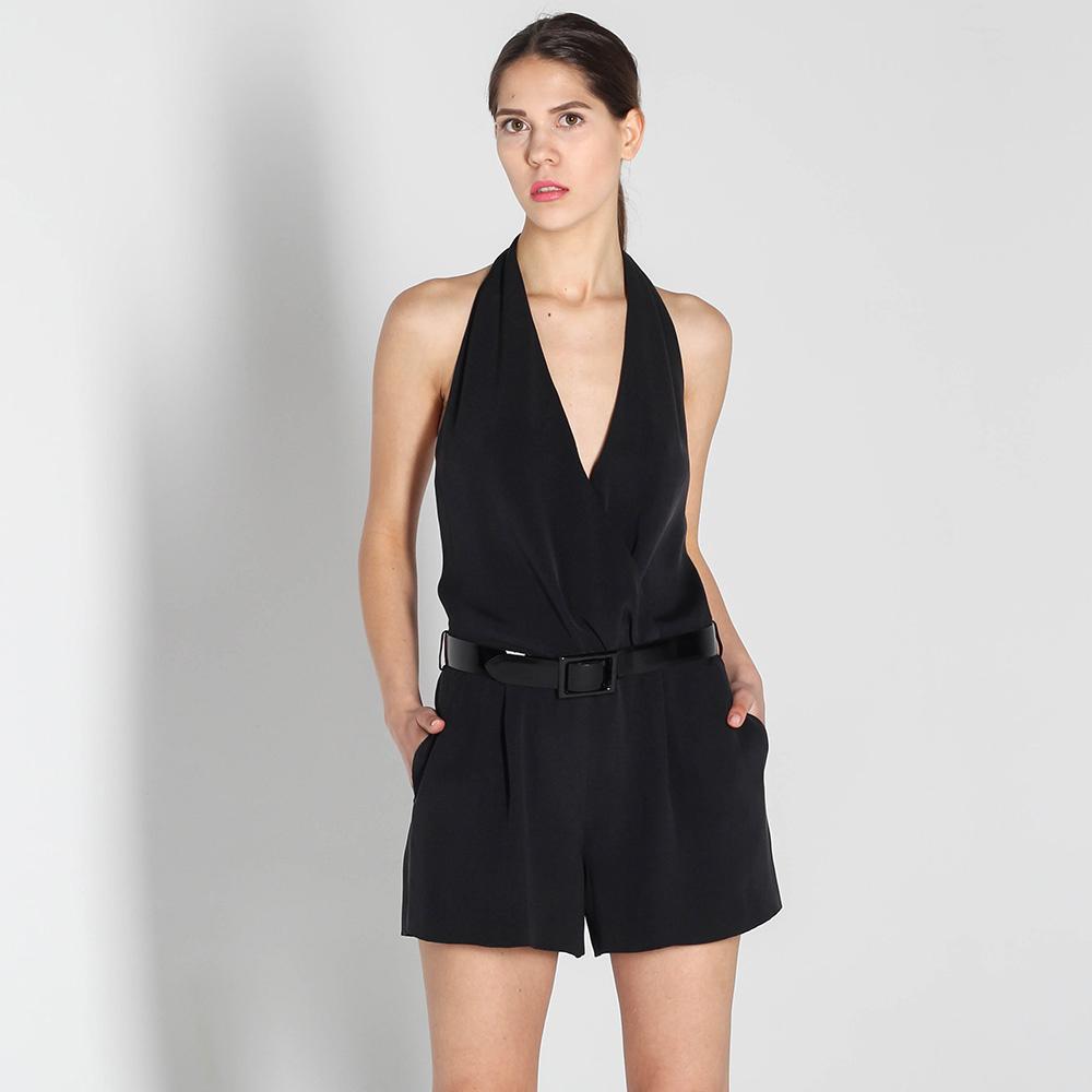 Шелковый комбинезон Polo Ralph Lauren черного цвета