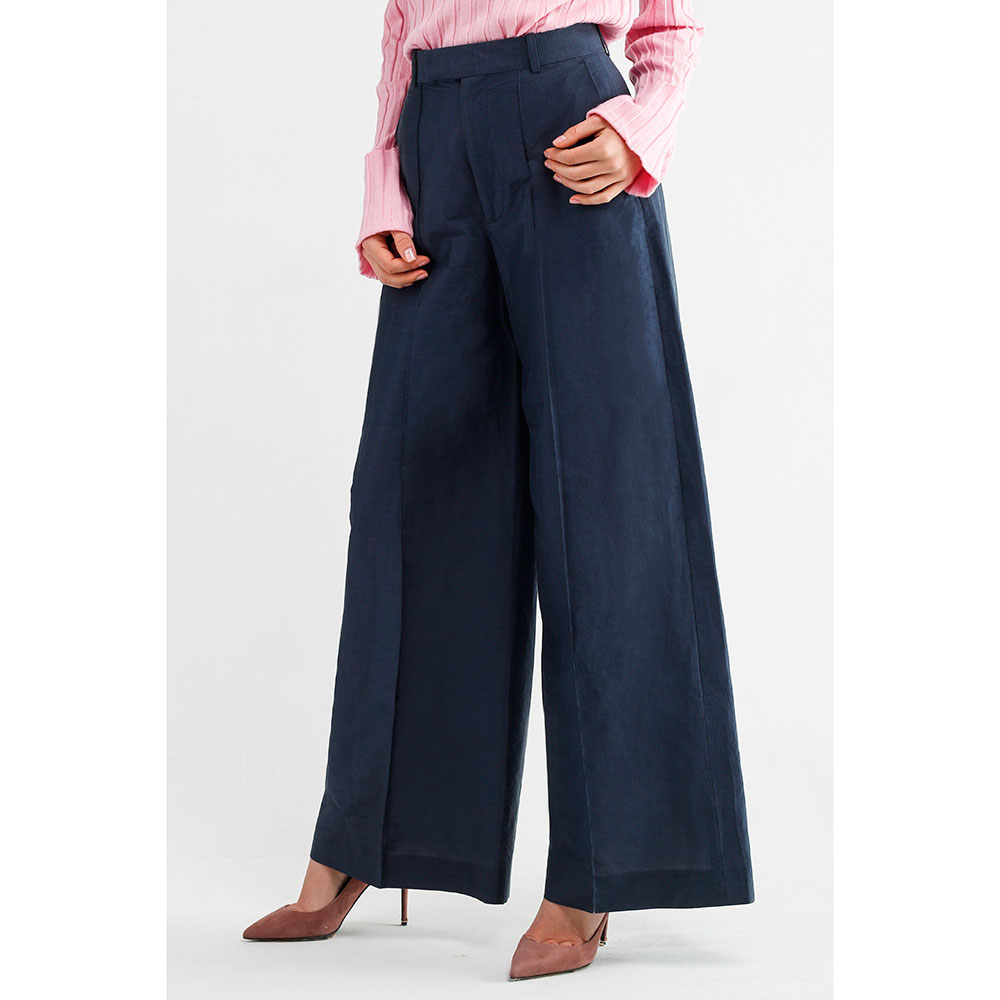 Широкие синие брюки Celine со стрелками