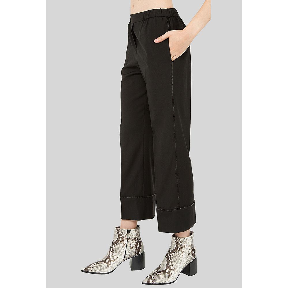 Широкие брюки N21 с декором-стразами